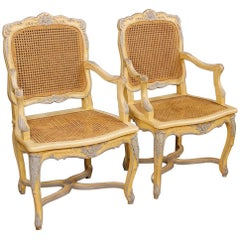 20th Century Pair of French Armchairs in Painted Wood