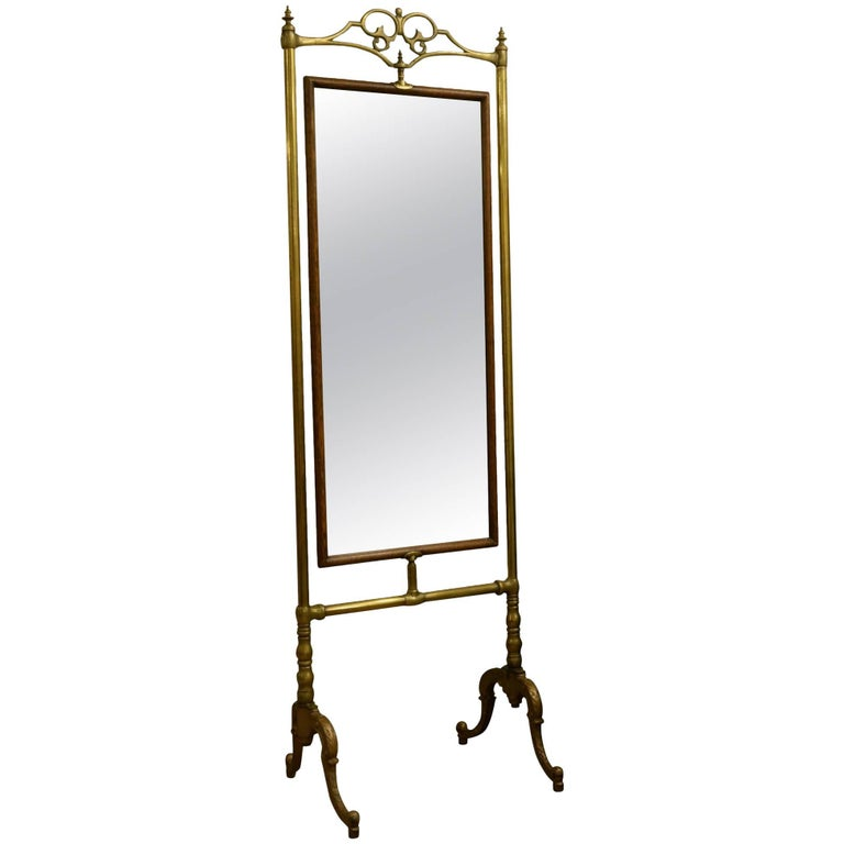 Late 19th Century Brass and Oak Dressing Mirror