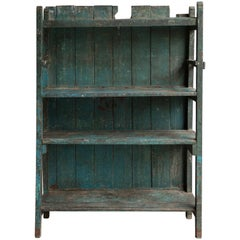 Set of Turquoise Blue Painted Anglo Indian Open Shelves