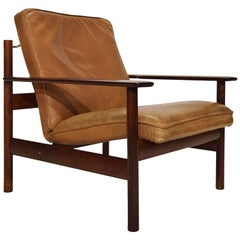 Sven Ivar Dysthe Solid Rosewood and Leather Easy Chair for Dokka Mobler