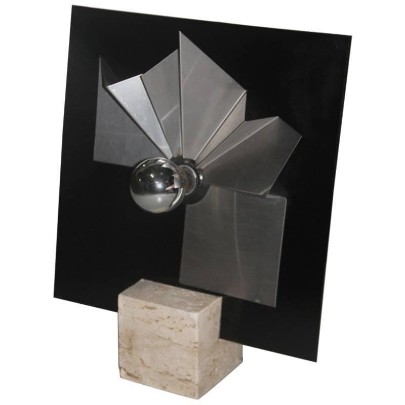 Table Lamp Marble, Plexiglass, Steel 1970 Italian Design Pop Art