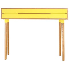 Contemporary console-desk by Benjamin Faure in oak wood and MDF laquered
