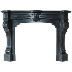 Beautiful Antique Fireplace of Black Marble Called 'Noir De Mazy', 875