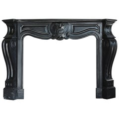 Antique Fireplace of Black Marble Called 'Noir De Mazy', 874