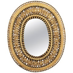 Unusual Spanish 1970s Handcrafted Woven Wicker and Rattan Oval Mirror
