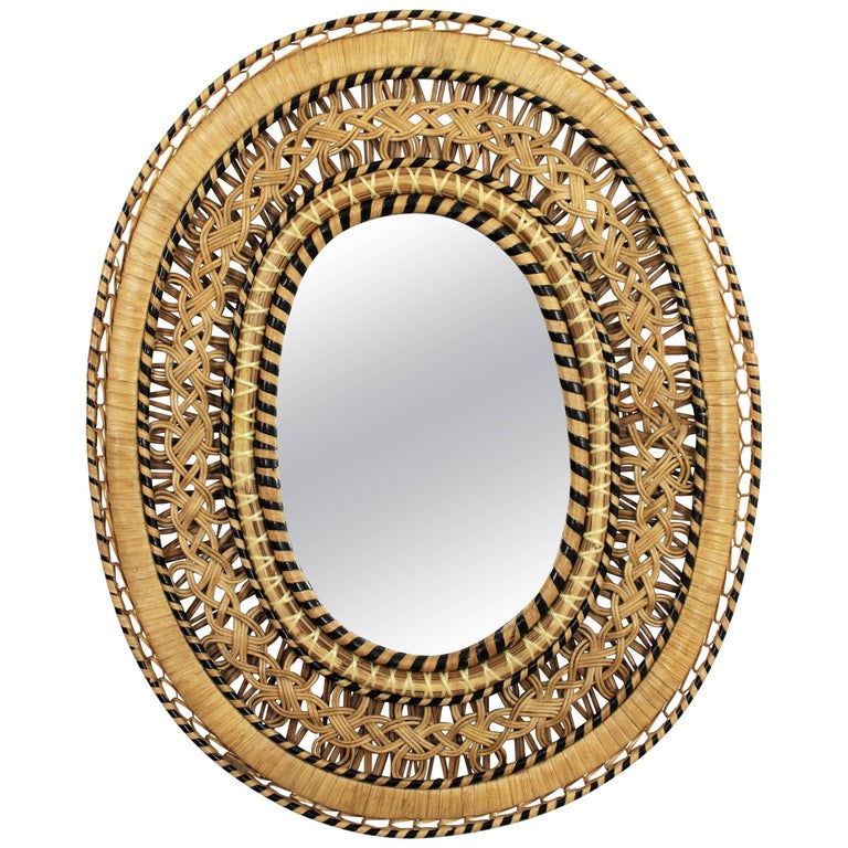 Unusual Spanish 1970s Handcrafted Wicker and Rattan Oval Mirror