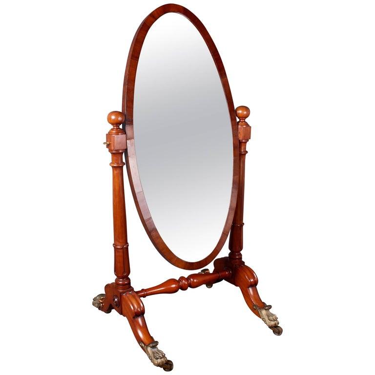 William IV Mahogany Cheval Mirror