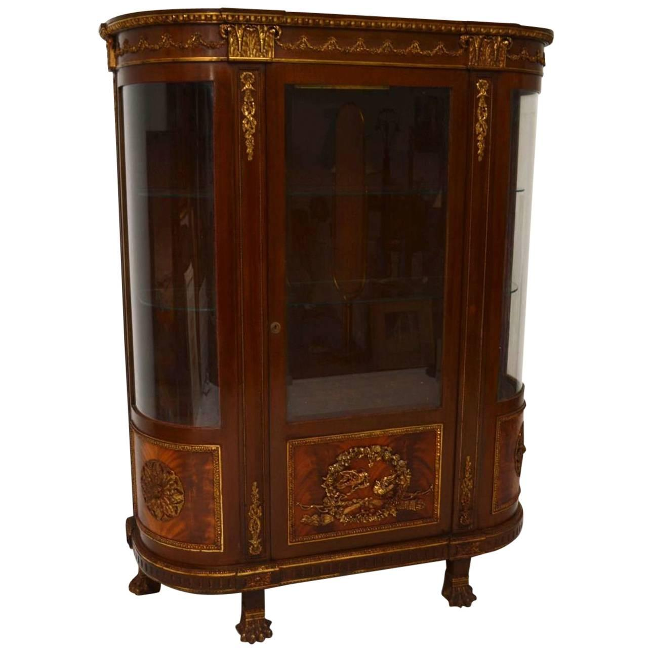 Antique French Ormolu-Mounted Mahogany Display Cabinet For Sale at ...