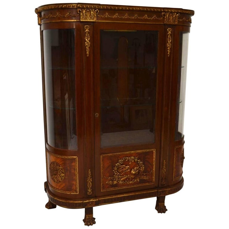 Antique French Ormolu-Mounted Mahogany Display Cabinet
