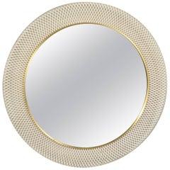 Midcentury Round Mirror White Woven Metallic Frame, 1950s, Germany