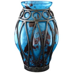 Art Deco Daum and Majorelle Glass and Wrought Iron Vase