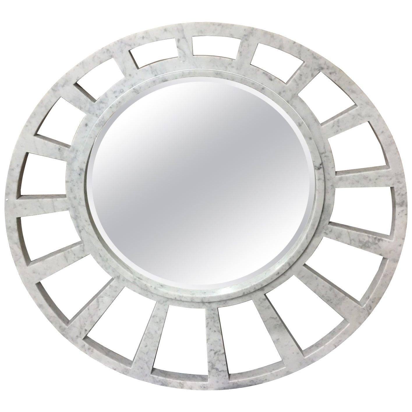 Italian White Carrara Marble Mirror, Modern Round Sunburst by Massimo Mangiardi
