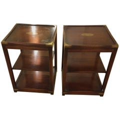 Stunning Pair of Campaign Three-Tier Mahogany and Brass Side End Tables