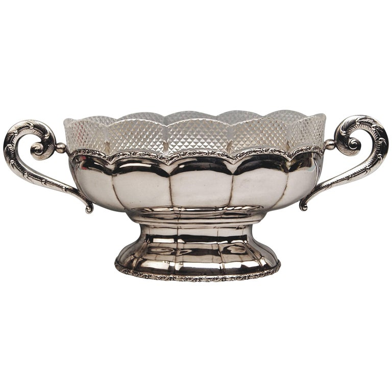 Silver 800 Flower Bowl Jardiniere Vienna Diana Head Mark, circa 1900