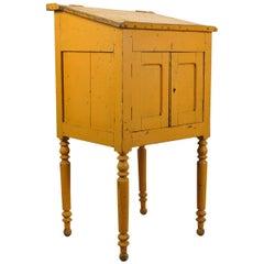 Antique Spanish Yellow School Lectern or Side Cupboard, circa 1920