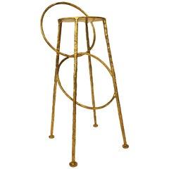 Brass Handsculpted Stool - Hoola - Misaya