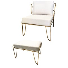 Brass Hand-Sculpted Armchair and Stool, Lena, Misaya