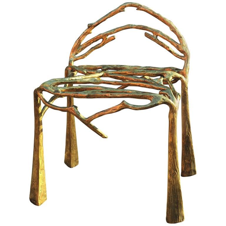 Handsculpted Brass Chair, Twigy, Masaya For Sale