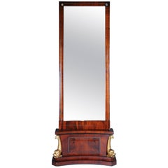 19th Century Courtly Delphin Empire Console Mirror, circa 1815