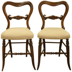 Pair of Victorian Balloon Back Rosewood Chairs