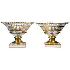Pair French Gilded Porcelain Baskets 'Corbeilles' Made Mid-19th Century