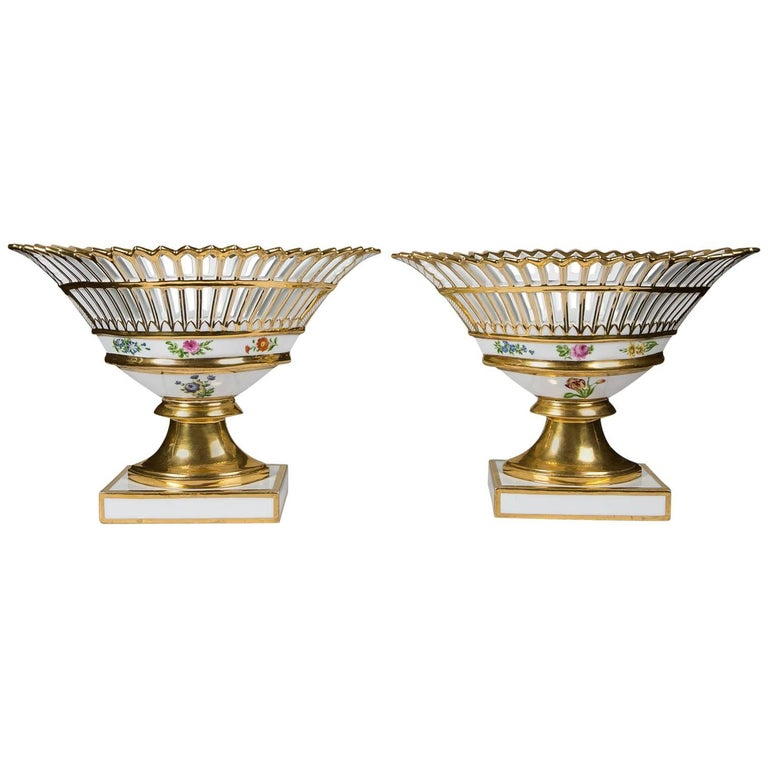 Pair of French Gilded Porcelain Baskets 'Corbeilles'