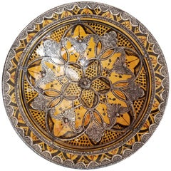 Decorative Metal Inlaid Moroccan Hand-Painted Plate, Saffron Yellow