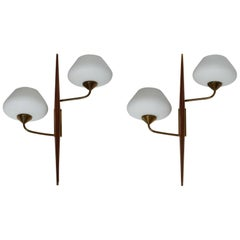 Pair of 1950s Wood and Glass Wall Lights