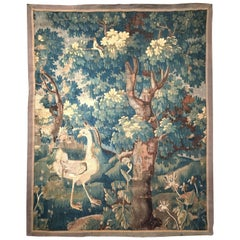 18th Century French Aubusson Verdure Tapestry with Ostrich, Bird and Foliage