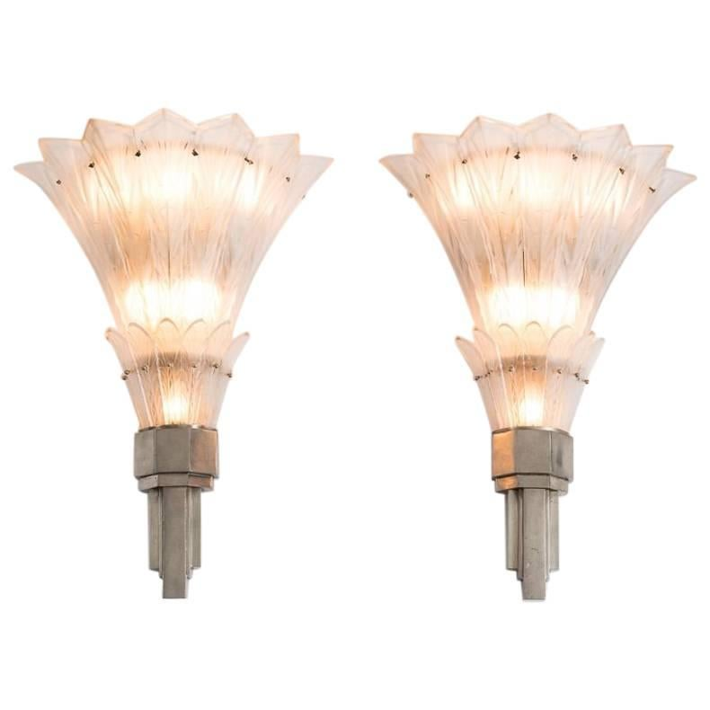 Sabino, Fine Pair of Art Deco Sconces, France, C. 1920's