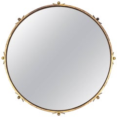 Round Art Deco Brass Mirror, 1930s