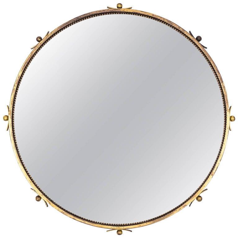 Round Art Deco Brass Mirror, 1930s