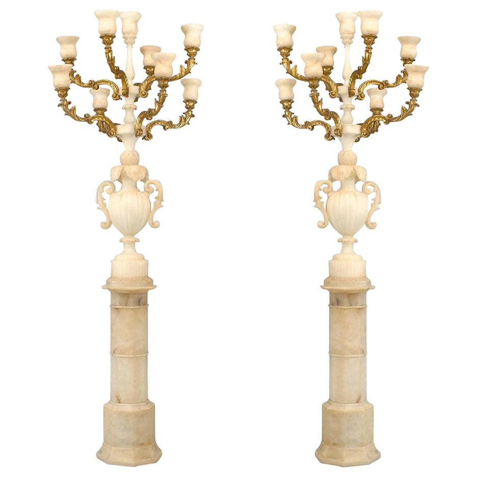 Pair of Monumental Italian Rococo Style Giltwood and Alabaster Torchieres