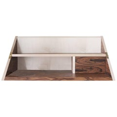 Convertible Handcrafted Contemporary Italian Rosewood-and-Maple Wall Shelf