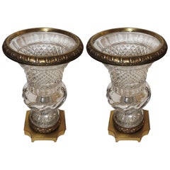Wonderful French Pair of Gilt Bronze Ormolu-Mounted Cut Crystal Glass Urn Vases