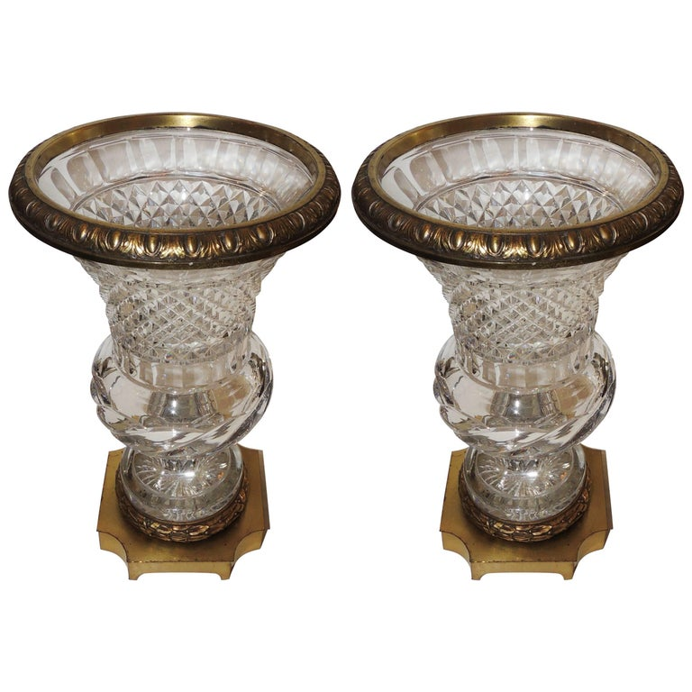 Wonderful French Pair of Gilt Bronze Ormolu-Mounted Cut Crystal Glass Urn Vases