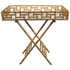 "Chinoiserie Gilt Iron Faux Bamboo Bar ""Cart"""