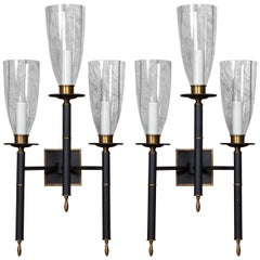 Pair of Triple Hurricane Sconces