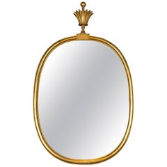 Tommi Parzinger Oval Gilt Mirror with Crown
