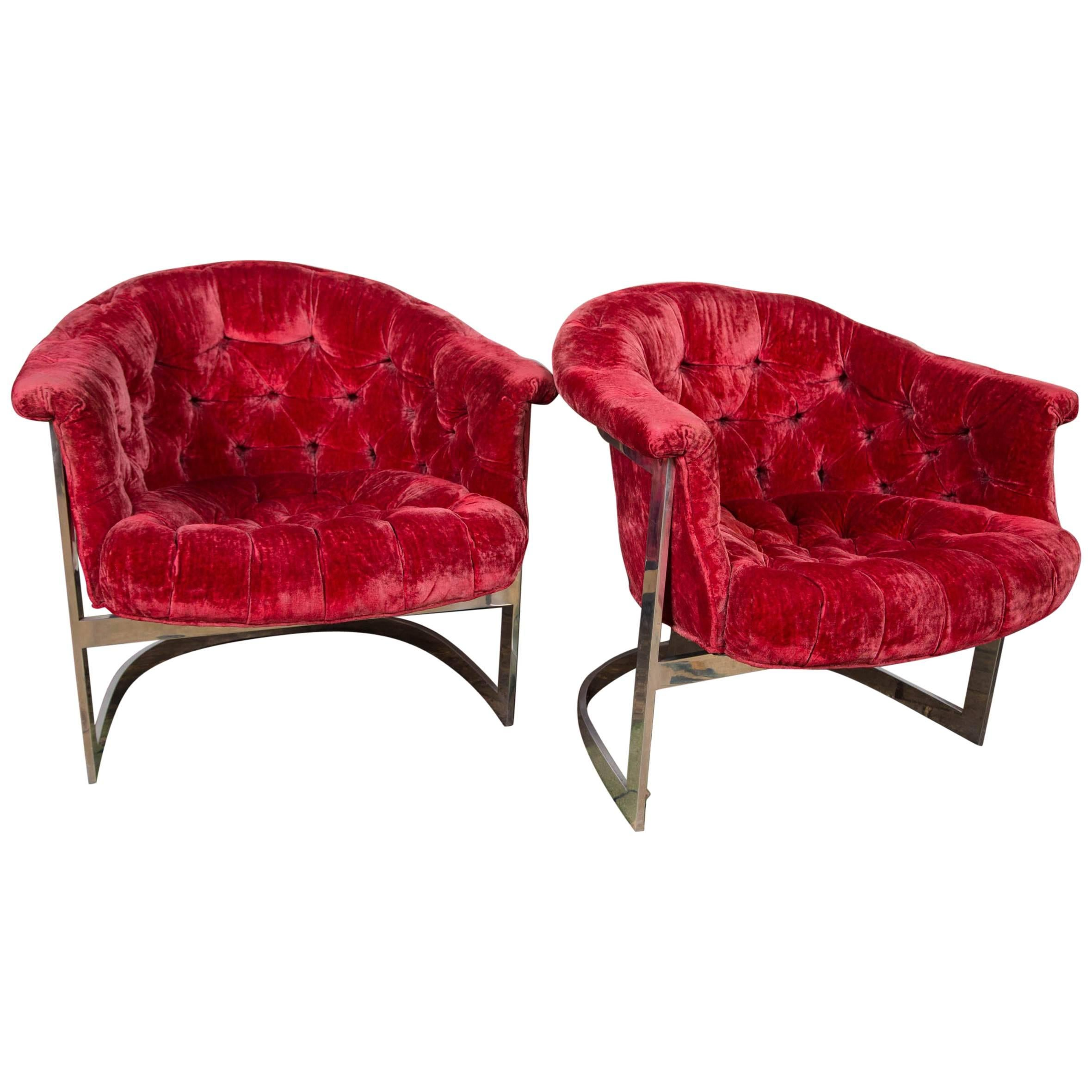 Pair of John Stuart Tufted and Steel Lounge Chairs