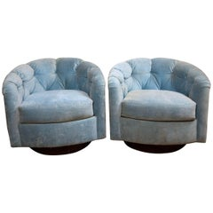 Pair of Tufted Milo Baughman Style Lounge Chairs