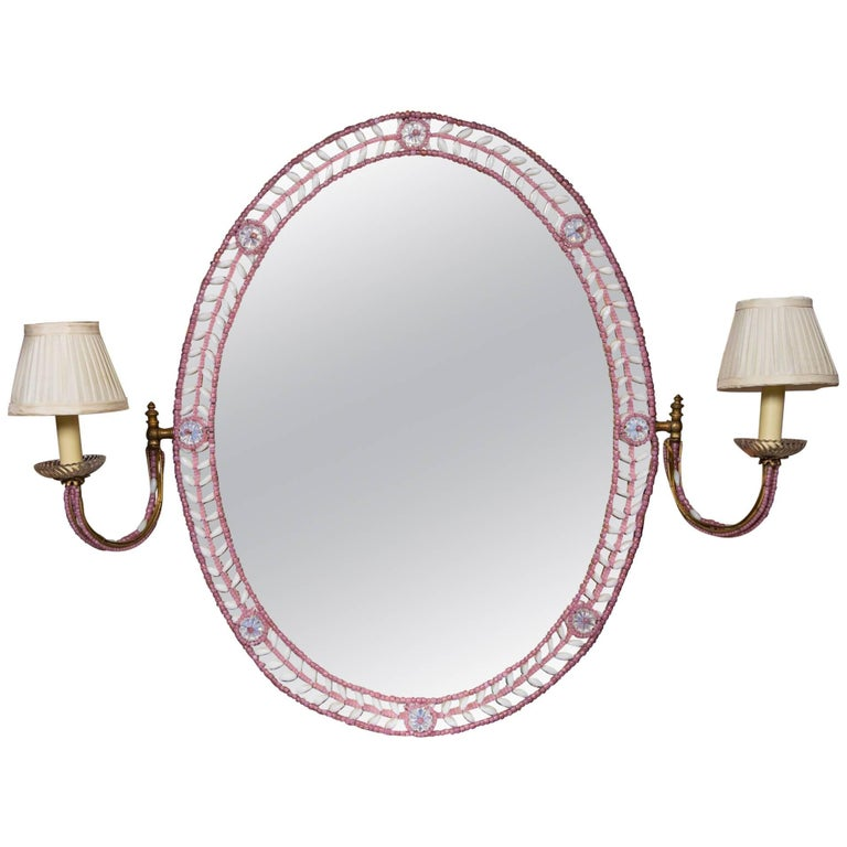 Oval Beaded French Boudoir Mirror with Attached Sconces