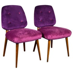 Pair of Italian 1960s Velvet Side Chairs
