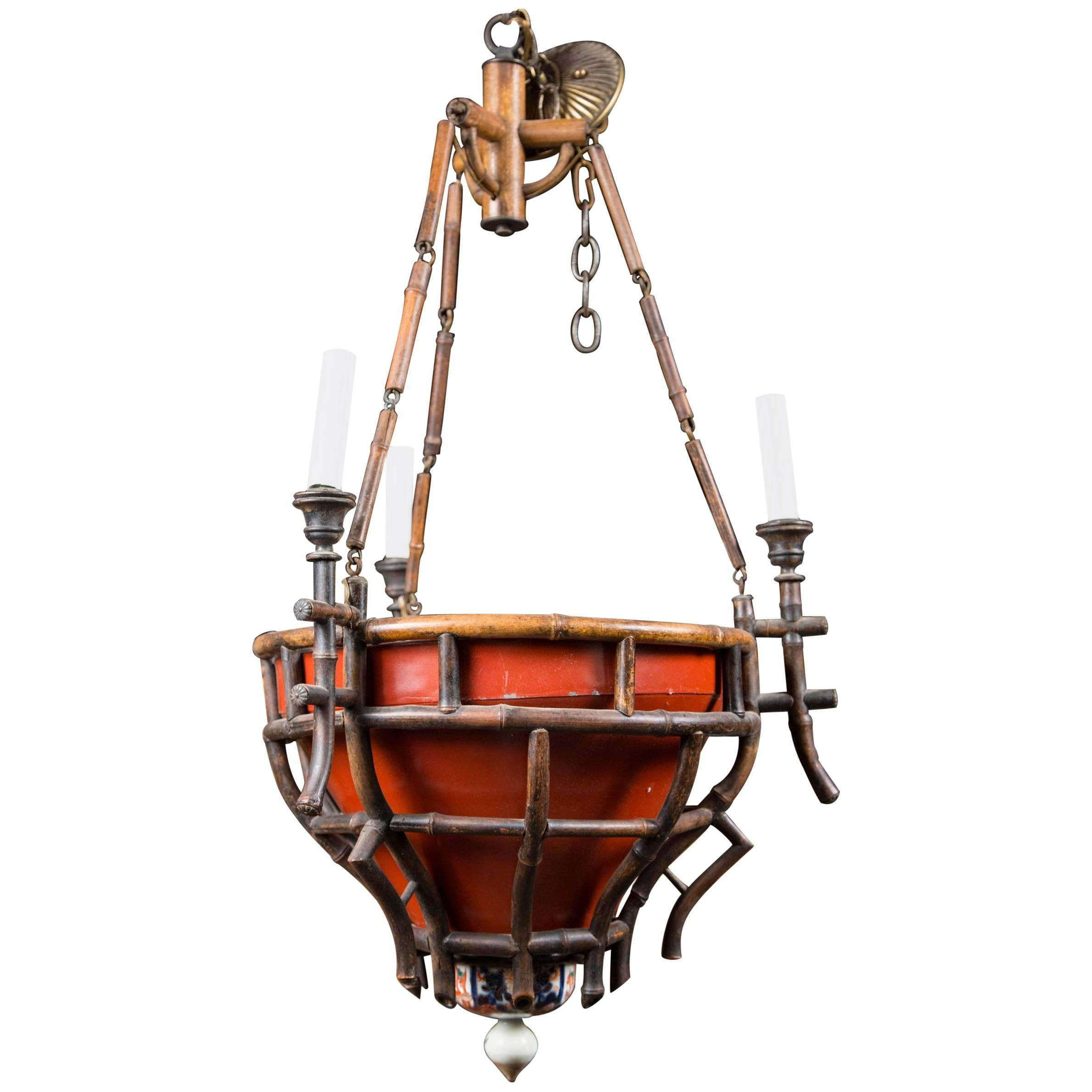 Chinoiserie Bamboo and Ceramic Chandelier