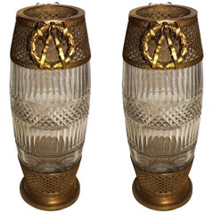 French Pair of Fluted Etched Crystal Bronze Ormolu Rosette Wreath Vases