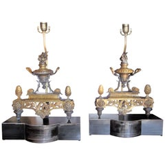 Pair of Louis XVI Style Gilt Bronze and Bronze Lamps on Gun Metal Bases