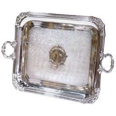 19th Century French Louis XVI Silver Plated Tray with Handles and Repousse Decor