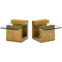 Pair of Modernist Lacquered Parchment Side Table by Karl Springer