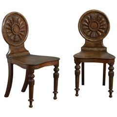 Pair of Pollard Oak Hall Chairs