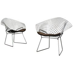 Set of Two Chrome Diamond Chairs by Harry Bertoia for Knoll, 1970, Grey